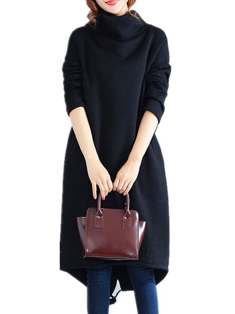 Women's Dress Turtle Neck Long Sleeve Solid Loose Shift Dress