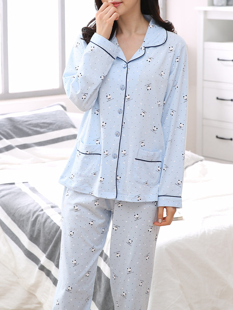 Women's 2 Pcs Sleepwear Cute Cartoon Cat Pattern Long Sleeve Turn Down Collar Comfy Home Suit