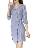 Jmfive Women's Dress Fashion Striped V Neck Three Quarters Sleeve Asymmetrical Slim Shirt Dress