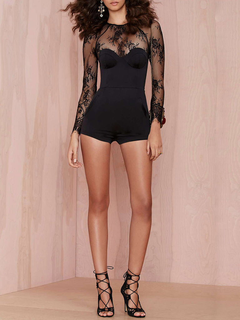 Women's Playsuit Solid Color Sexy Slim Playsuit