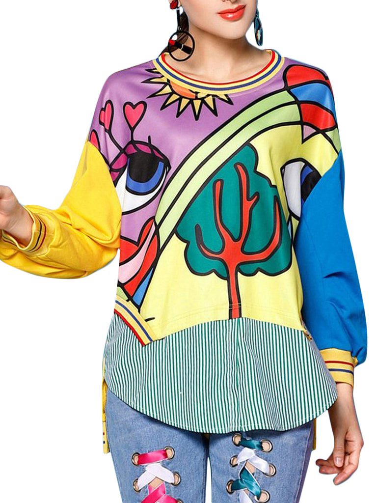 Women's Sweatshirt Long Sleeve Cartoon Pattern Patchwork Fashion Sweatshirt