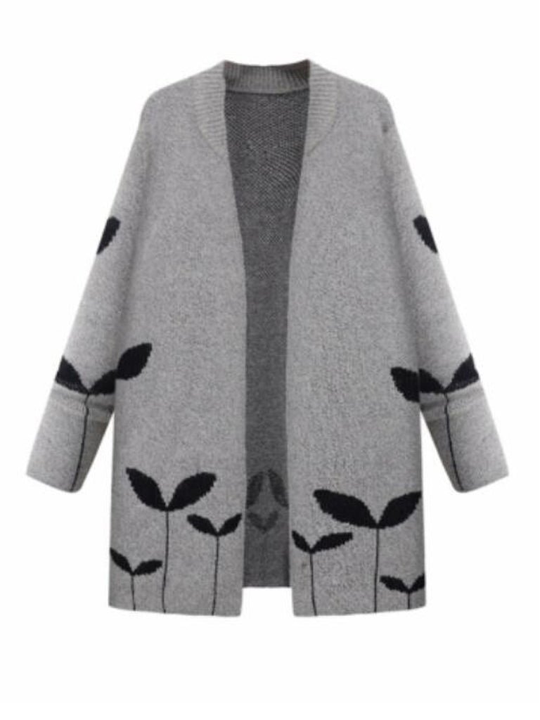 Women's Cardigan Plant Pattern Long Sleeve Plus Size Cardigan