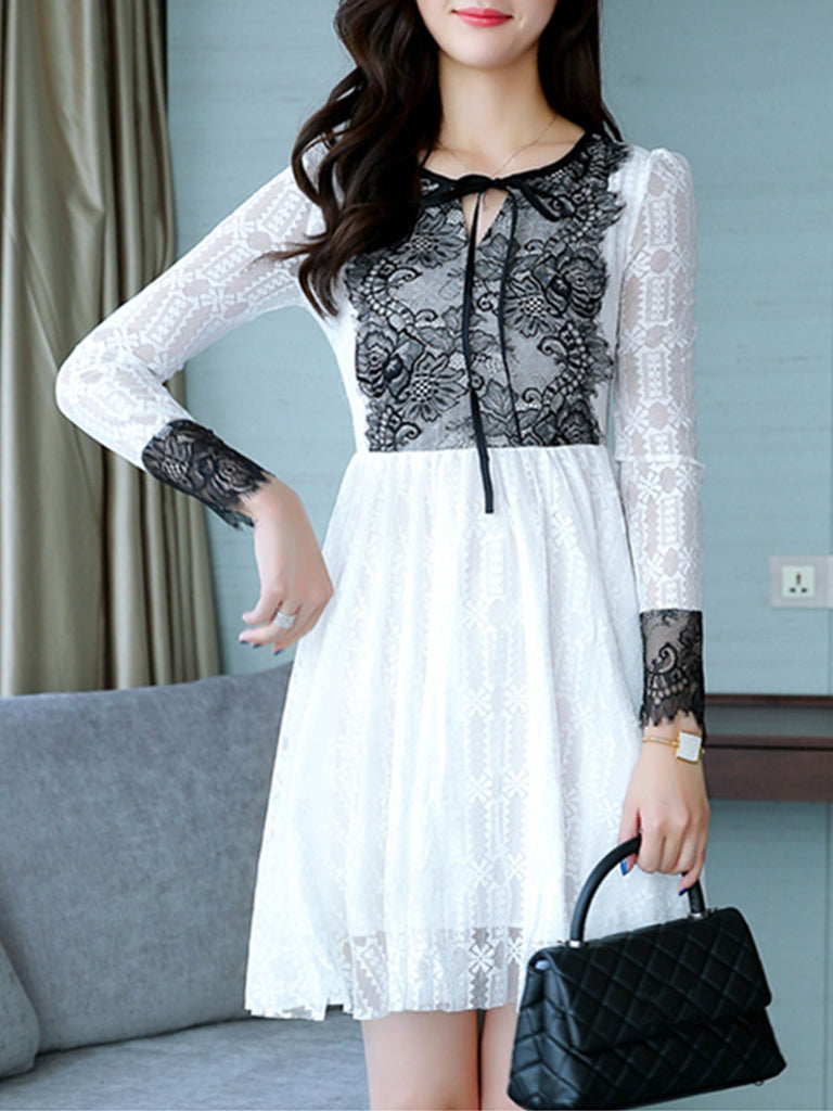 Women's Aline Dress Lace Patchwork Bandage High Waist Midi Dress