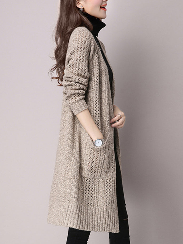 Women's Cardigan Long Sleeve Hollow Out Open Front Loose Knitwear