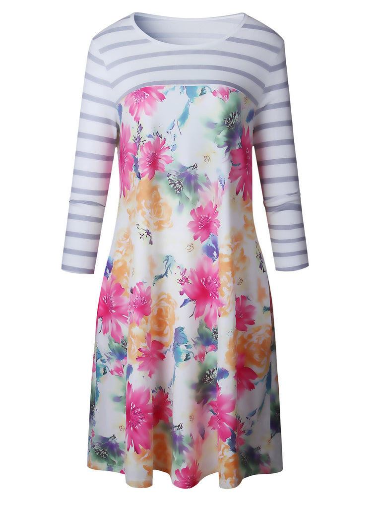 Women's Dress One Piece Layer Look Patchwork Floral Pattern Aline Dress
