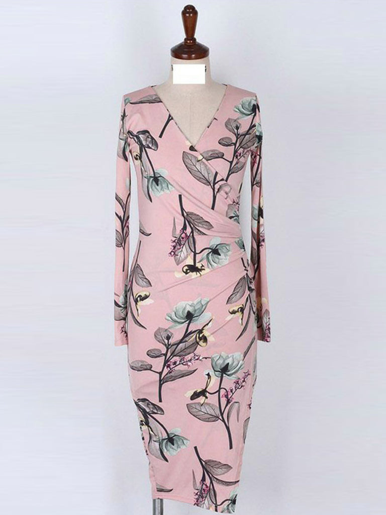 Women's Dress Fashionable Floral Printed Long Sleeve Slim Dress