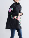 Women's Sweatshirt Floral Pattern Turtle Neck Loose Sweatshirt