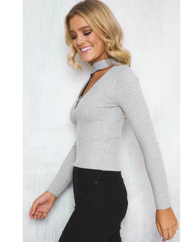 Women's Pullover V Neck Hollow Out Sexy Long Sleeve Solid Color Pullover