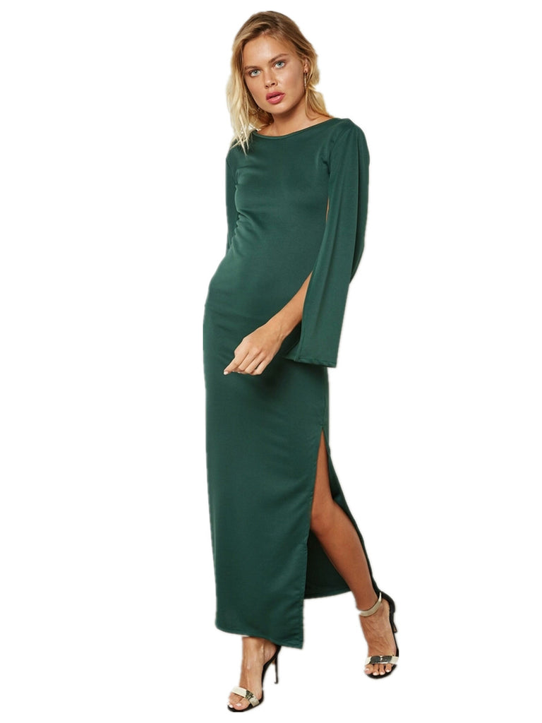 Women's Dress Solid Color Long Sleeve Sexy Back Split Plus Size Maxi Long Dress