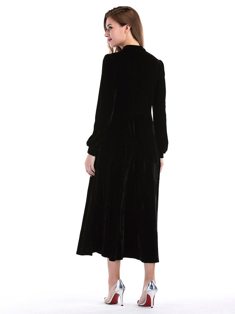 Women's Aline Dress Solid Color Button Long Sleeve Maxi Long Dress