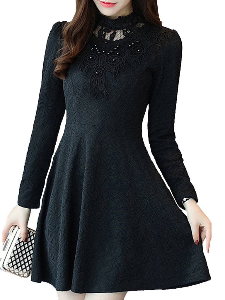 Women's Aline Dress Long Sleeve Lace Patched Fashion Slim Fit Dress