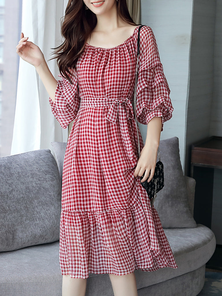 Women's Aline Dress Plaid Pattern Ruffled Sleeve Midi Dress