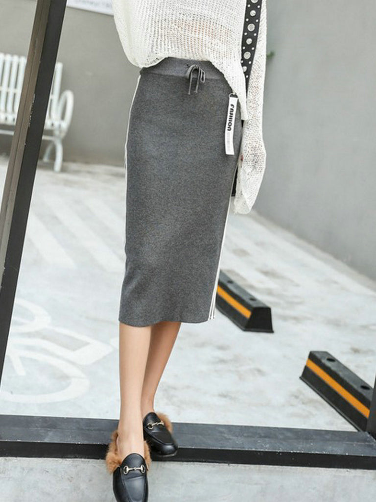 Women's Skirt Knit High Waist Stripe Midi Skirt