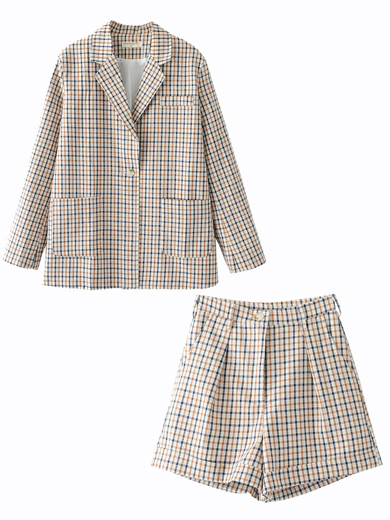 Women's 2Pcs Shorts Suits Plaid Pattern Casual Suits