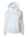 Women's Hooded Rubber Zipper Long Sleeve Pocket Stitching Sweater