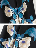 Women's Wide Leg Floral Print Pattern All Match High Waist Casual Pants
