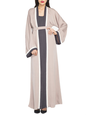 Women's Abaya Color Block Maxi Long Dress