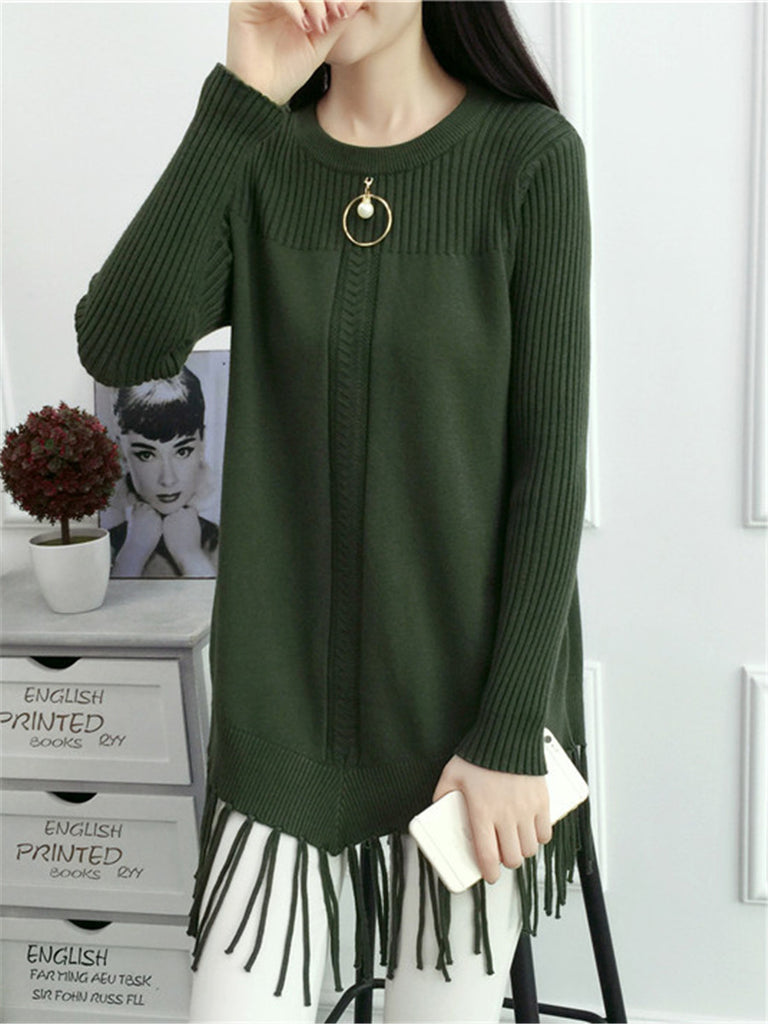 Women's Sweater O Neck Long Sleeve Solid Tassel Sweater