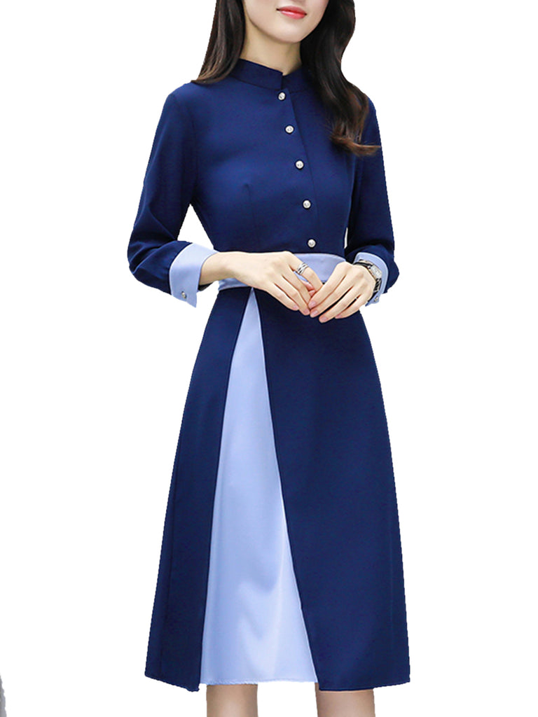 Women's Dress Stand Collar Long Sleeve Button Patched Dress