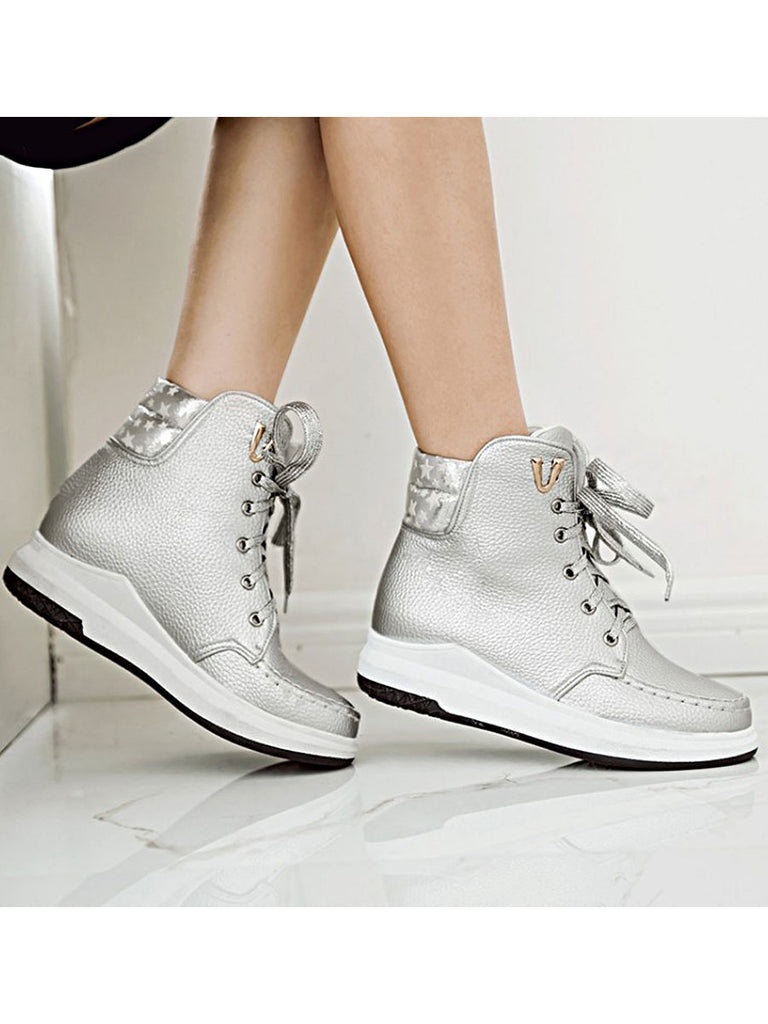 Women's Bottine Shoes Stylish Breathable Casual All Match Lacing Shoes