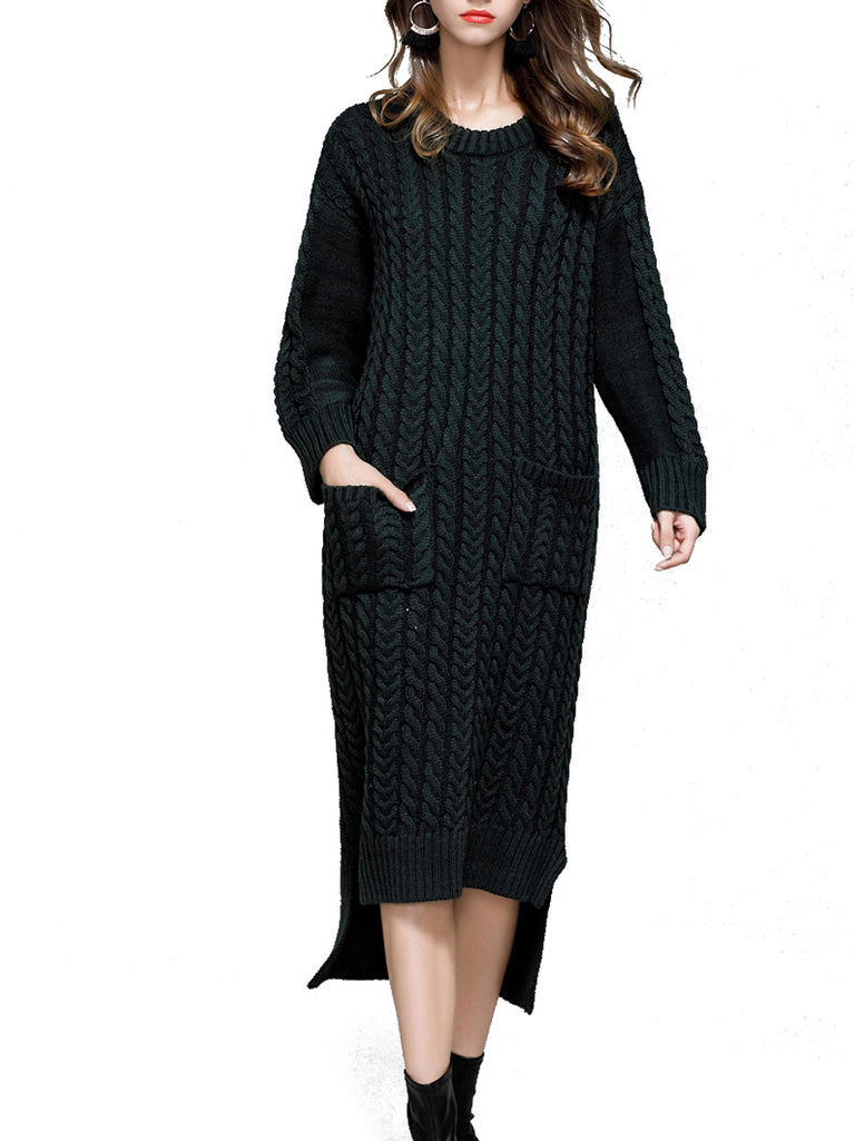 Women's Sweater Dress Solid Color Split Casual Warm Sweater Dress