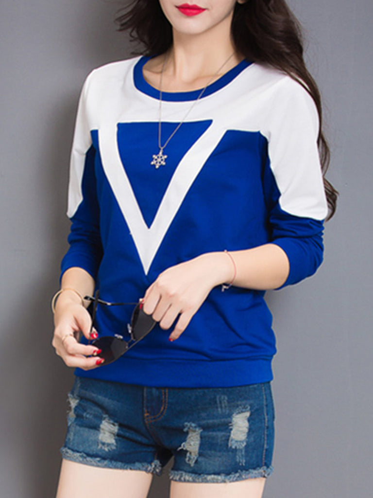 Women's Sweatshirt Color Block Slim Cozy Top