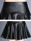 Women's Skirt High Waist Solid PU Pleated Aline Mini Skirt