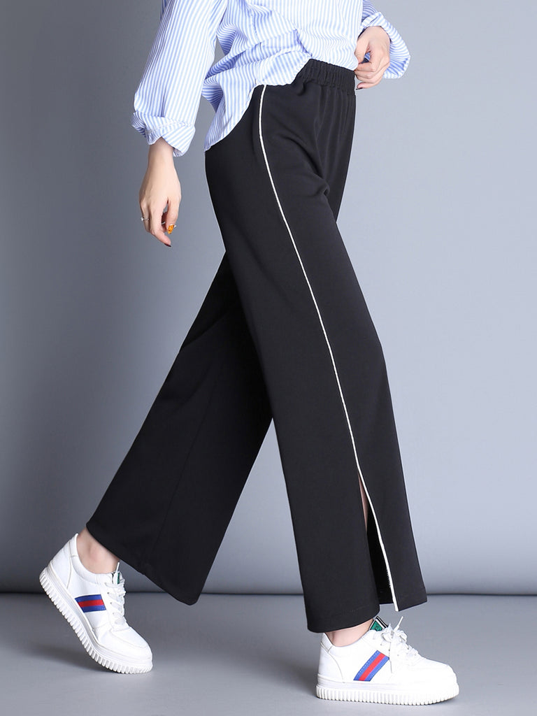 Women's Casual Pants High Waist Solid Split Wide Leg Pants