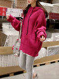 Women's Hooded Sweater Long Sleeve Loose Chic Solid All Match Top