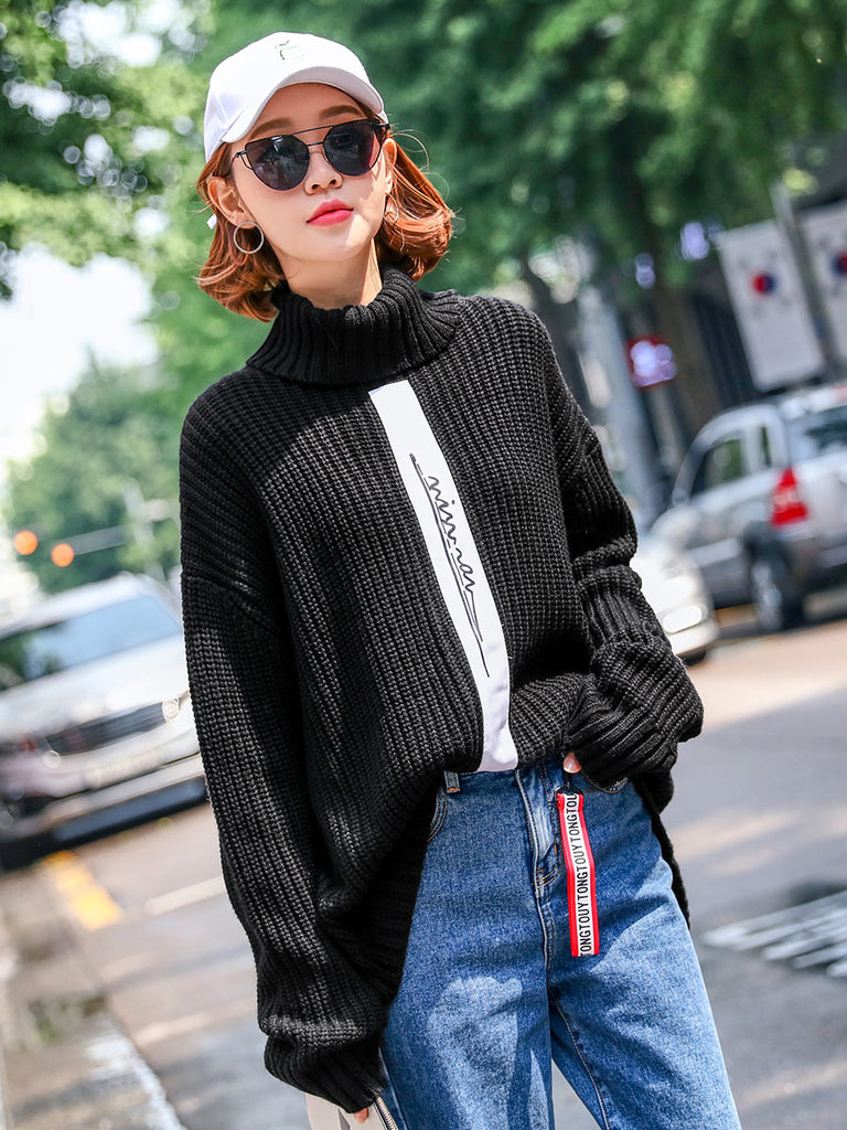 Hstyle Women's Sweater Stylish Long Sleeve Printed Casual Pullover