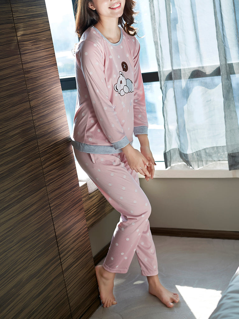 Women's Pajama Set Polka Dots Cute Cartoon Pattern O Neck Long Sleeve Home Suit