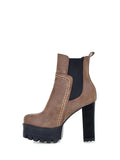 Women's Ankle Boots Retro Round Toe Platform Chunky Heel Shoes