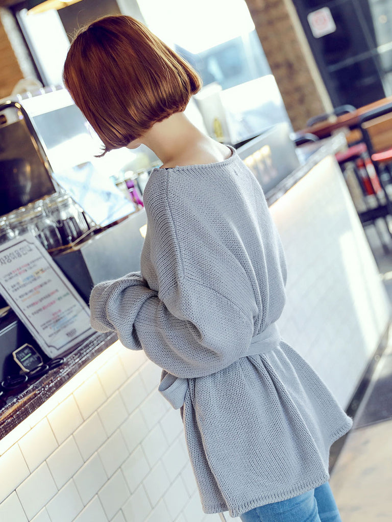 Hstyle Women's Sweater Long Sleeve Loose Elegance All Match Warm Bow Top
