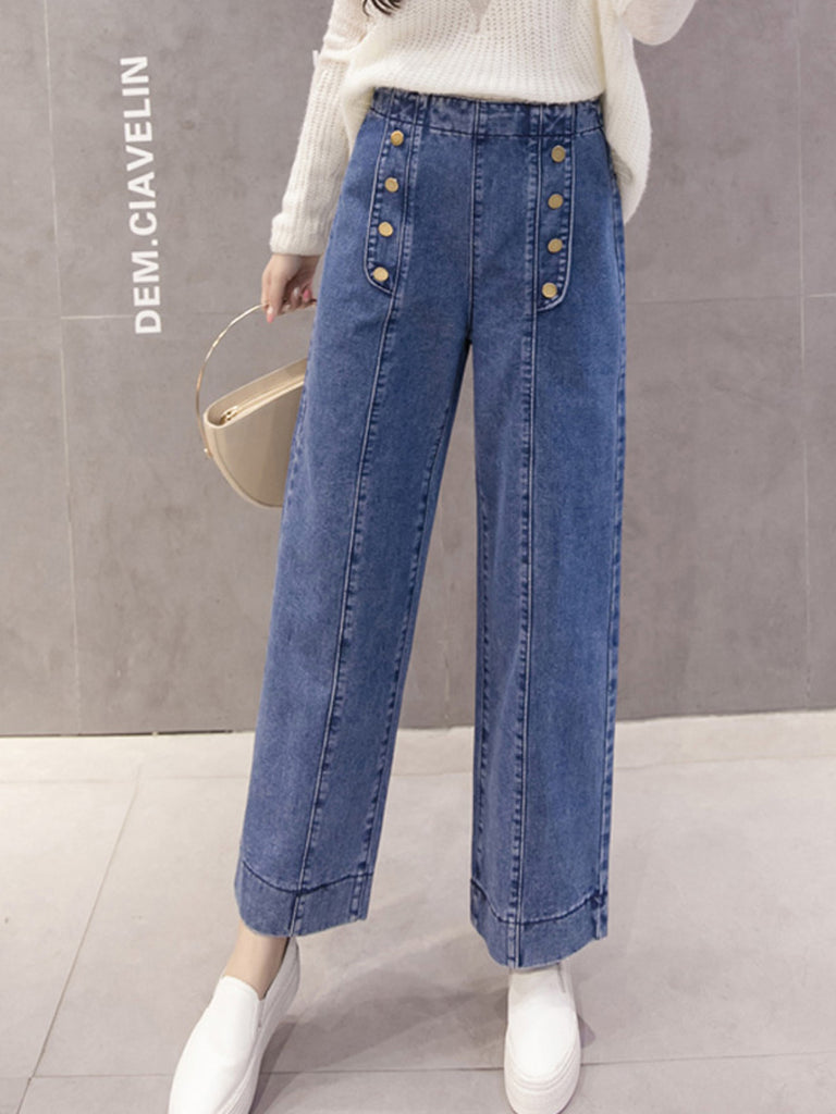Women's Jeans High Waisted Wide Leg Loose Denim Pants