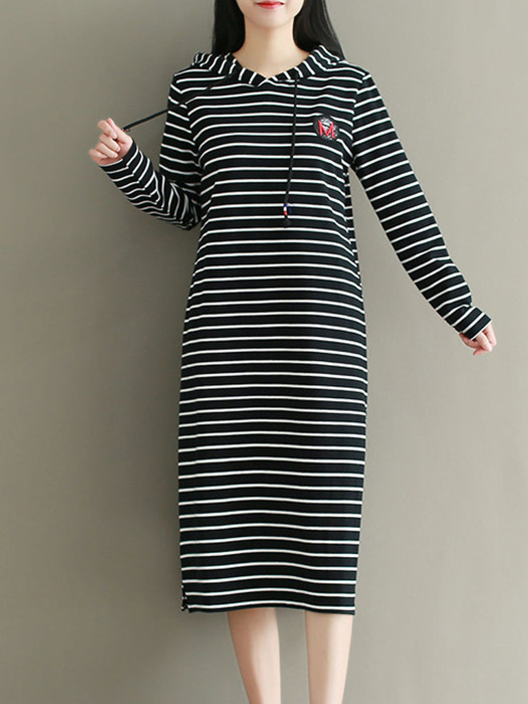 Women's Dress Hooded Long Sleeve Striped Shift Dress