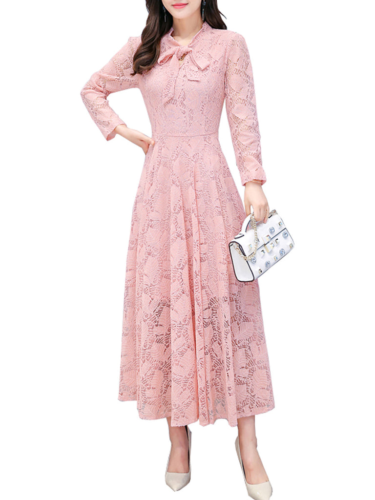 Women's Lace Dress Long Sleeve Hollow Out Solid Color Aline Dress