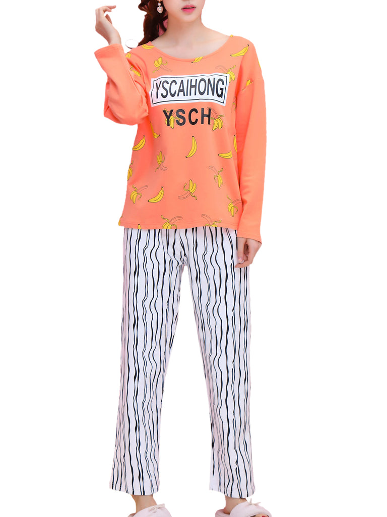 Women's Pajama Set Letters Banana Pattern O Neck Top Striped Casual Long Home Suit
