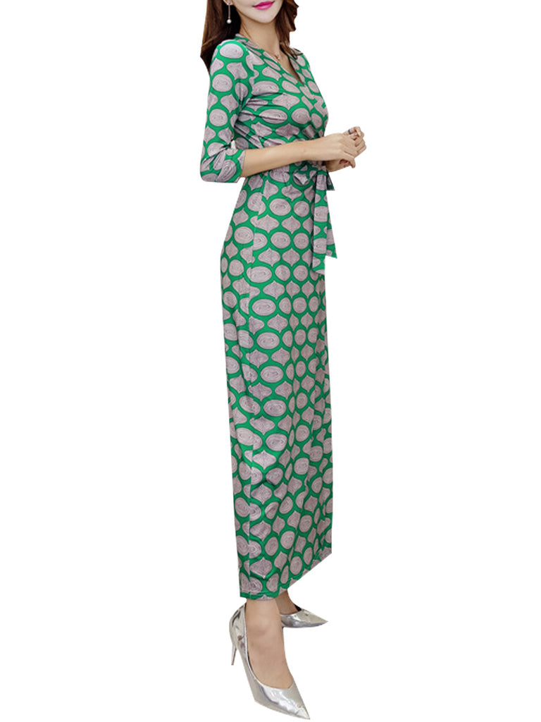 Women's Maxi Long Dress Three Quarters Sleeve High Waisted Aline Dress