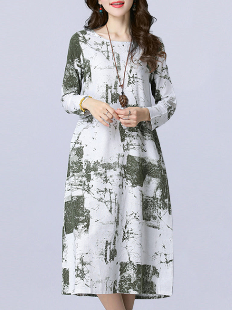 Women's Dress Ethnic Style O Neck Long Sleeve Plus Size Loose Comfy Dress