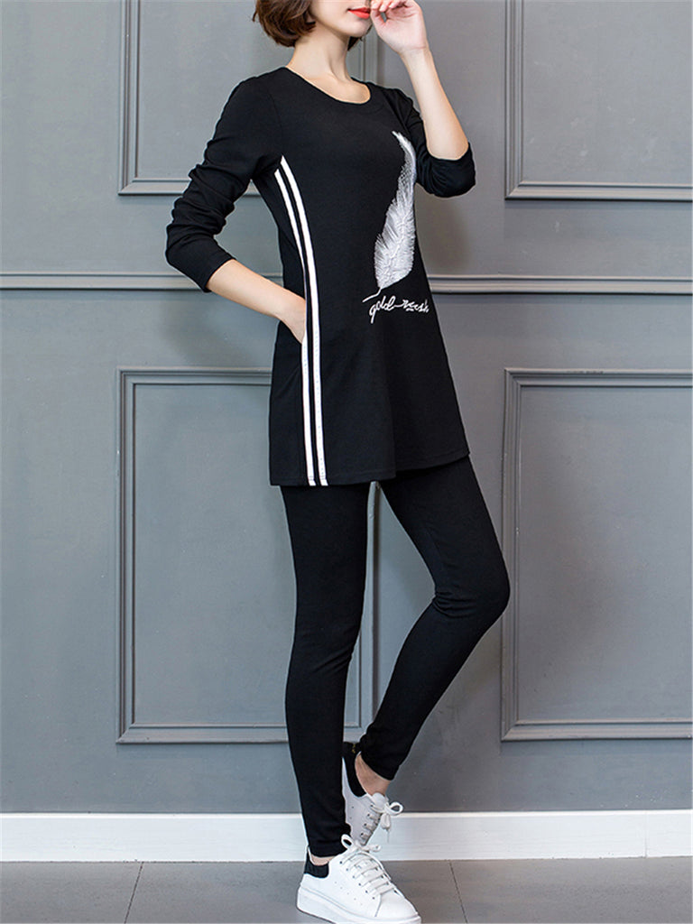 Women's Sets O Neck Long Sleeve Print Top Plus Size Pants Suits