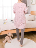 Women's Pajama Set Sweet Bear Letters Pattern Split Long Sleeve Pregnancy Cozy Home Suit