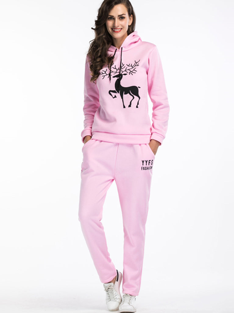 Women's Suits Hooded Long Sleeve Print Deer Pants Suits