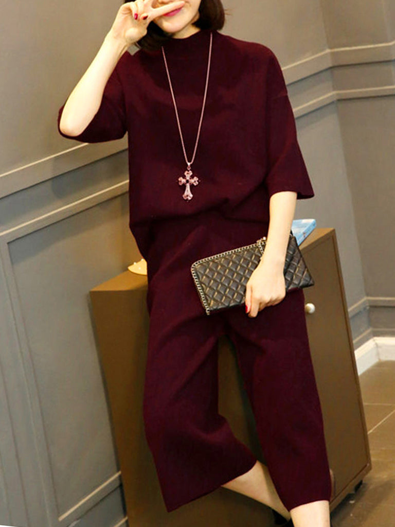 Women's Suits O Neck Half Sleeve Solid Wide Leg Pants Suits