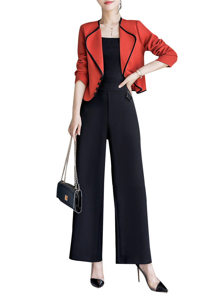 Women's Suits Long Sleeve Outwear Solid Wide Leg Pants Suits