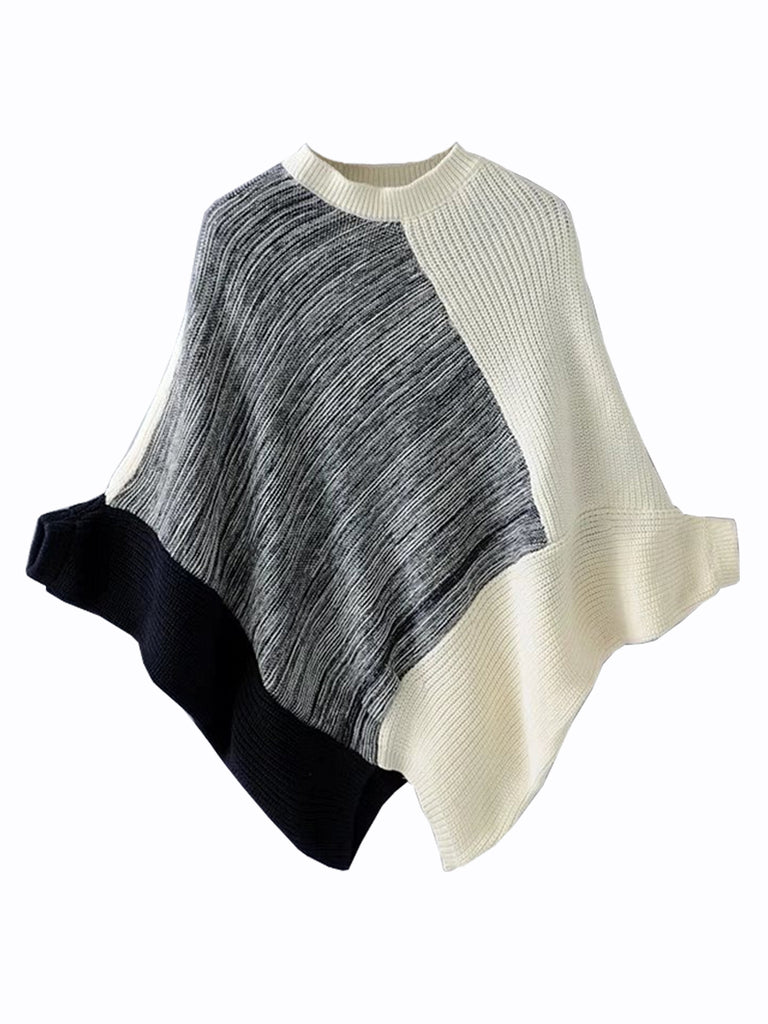 Women's Pullover O Neck Batwing Sleeve Color Block Sweater