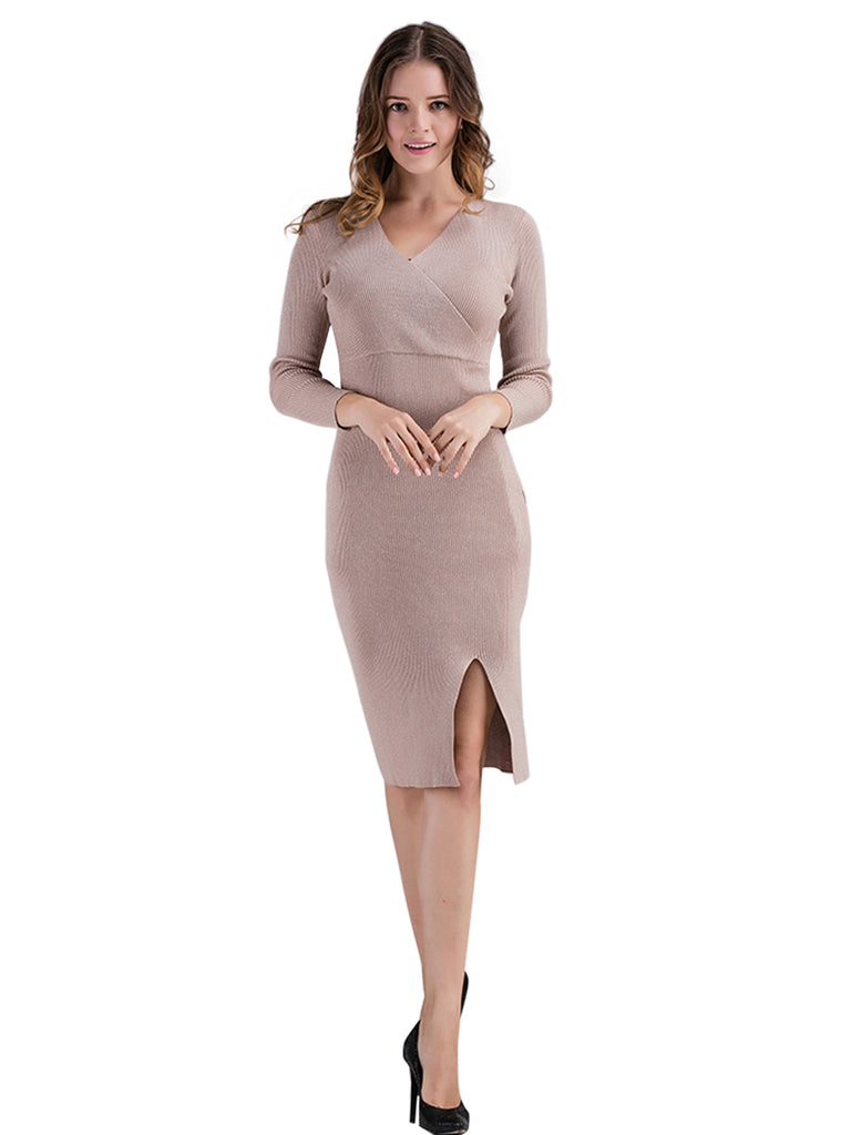 Women's Sweater Dress Solid Color V Neck Split Sexy Dress