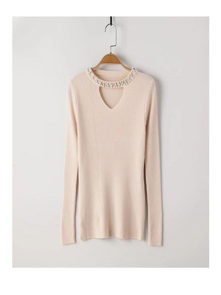 Women's Sweater V Neck Imimation Pearl Long Sleeve Comfy Sexy Dress