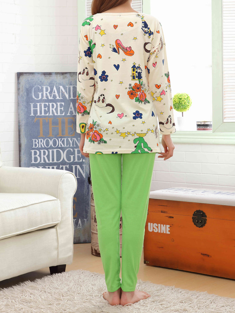 Women's Pajama Set Sweet Floral Candy Color O Neck Long Sleeve Pregnancy Home Suit