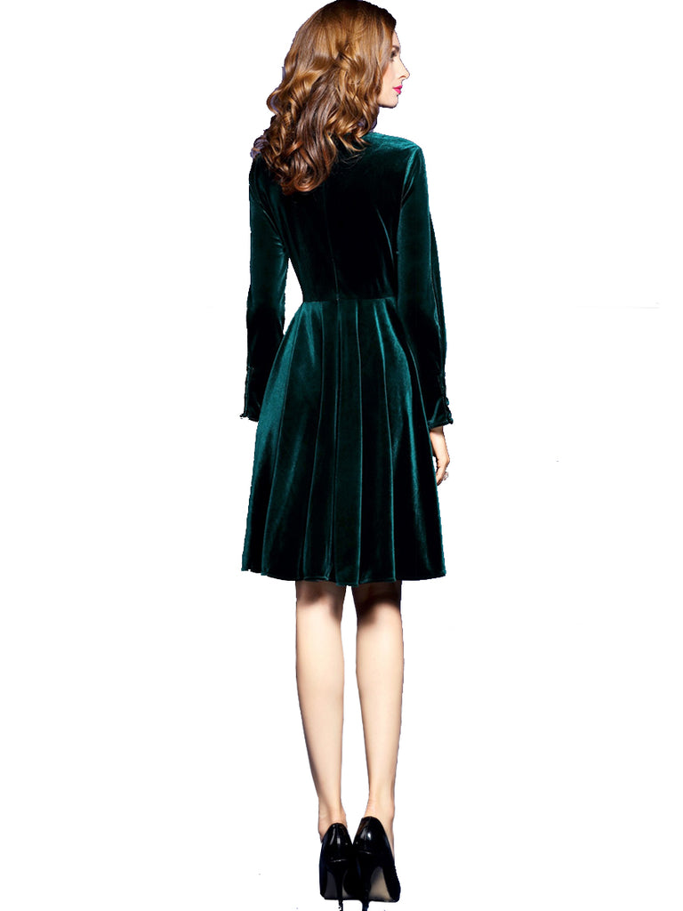 Women's A Line Dress Solid Color Long Sleeve Dress