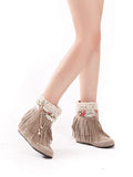 Women's Shoes Increase Height Sweet Tassels Plate Sole Big Size Stylish Women Shoes